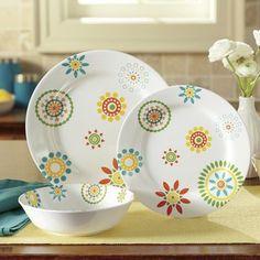12-Piece Floral Melamine Dinnerware Set & 12-Piece Retro Melamine Dinnerware Set | Camper | Pinterest ...