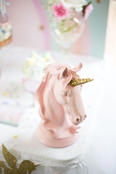 Unicorn head decoration from a Floral Rainbow Glam Unicorn Birthday Party on Kara's Party Ideas | KarasPartyIdeas.com (16)