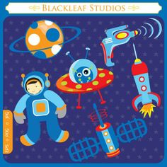 Out of Space  astronaut science aeronautical by blackleafdesign, $5.00
