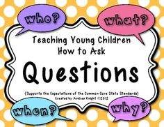 "This item uses rhyme and repetition with coordinating characters to engage young students and help them learn how to ask questions about text.  ""Teaching Young Children How to Ask Questions""  {A Common Core Standard}  43 pages, $ Repinned by SOS Inc. Resources pinterest.com/sostherapy/."