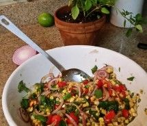 Charred Corn Salad with Basil and Tomatoes / Pike Nurseries
