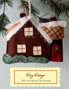 What a sweet cottage!  Christmas ornament to make at http://rosylittlethings.typepad.com/posie_gets_cozy/2013/10/night-before-christmas-ornament-kits-and-the-older-kits-too-now-on-sale.html