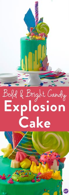 Bold and Bright Candy Explosion Cake - The Piqued Interest cake decorating trend mixes up bold colors in mismatched piles and mounds of ingredients creating varying elevations for a chaotic design that's a show stopper no matter what you're celebrating!