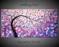 SALE 15% OFF Large Abstract Tree Painting Modern Landscape Contemporary Canvas Surreal Silhouette Fantasy Lavender Purple Art 24x48 JMichael