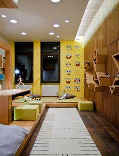 Funny Spongebob Squarepants Kids Room Designs : Cool Kids Room Decor with Yellow Spongebob Squarepants Wall Sticker and Ruler Shaped White R...