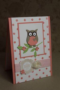 Babykarte mit der Eule in Altrose, Bild1, gebastelt mit Produkten, Stanzen und Stempeln von Stampin' Up!