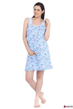 b793853df0 HAUTIE LADIES FLORAL 100% COTTON SLEEVELESS SUMMER DRESS WOMENS NIGHTWEAR  8-12
