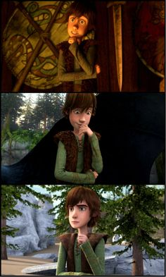 Hiccup's thinking pose. He looks so cool on the last one<<< I like the second one. He's cutest there.