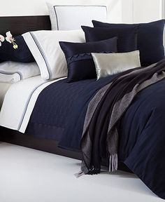 Hugo Boss Bedding, Windsor Navy Queen Duvet Cover - Duvet Covers - Bed & Bath - Macy's