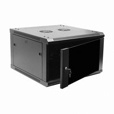 Navepoint 6U Deluxe IT Wallmount Cabinet Enclosure 19-Inch Server Network Rack With Locking Glass Door 24-Inches Deep Black