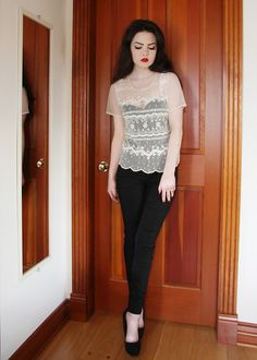 Suzy Shier Beaded Shirt, Marilyn Monroe Intimates Bodysuit, Skinny Trousers, Aldo Platform Heels