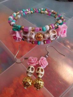 Skull Beads pack de 10 nacres Halloween tibétain argent
