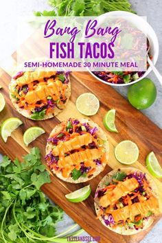 Bang Bang Fish Tacos – a delicious well-balanced meal! With lightly toasted corn tortillas, citrusy cabbage slaw, fish sticks, & yummy Bang Bang sauce! Fish Sticks, Semi Homemade, Cabbage Slaw, Corn Tortillas, 30 Minute Meals, Tacos, Ethnic Recipes, Food, Essen