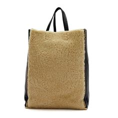 herme handbags - celine cream shearling black leather vertical gusset cabas tote ...