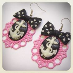 Old School Pin Up Style Anchor Earrings pink by VorssaInk on Etsy, €18.00