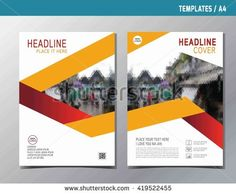 red yellow abstract flat vector annual report leaflet brochure template A4 size design flyer modern multipurpose style book cover layout design