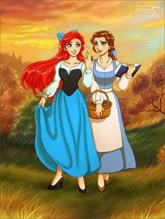 Beauty and the Beast's Belle and Little Mermaid's Ariel cartoon illustration via www.Facebook.com/DisneylandForMisfits