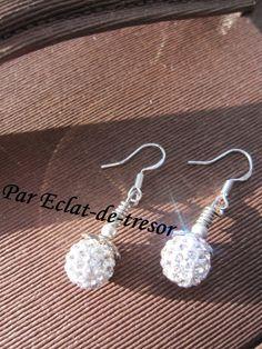 Boucles d'oreilles Argent 925 Strass blanc