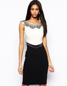 Hybrid—Bardot Neck Pencil Dress with Lace Detail❣ us.asos.com