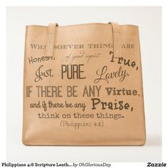 Philippians 4:8 Scripture Leather Bag Tote