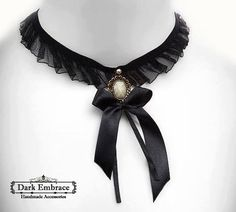 Black victorian gothic lolita lace choker with bronze framed onyx stone-gothic choker-victorian gothic choker-gothic lolita choker