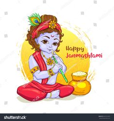 Little Krishna with a pot of butter on ornament background. Happy Janmashtami Quotes, Janmashtami Greetings, Janmashtami Wishes, Krishna Janmashtami, Ganesh Images, Lord Krishna Images, Hindu Festivals, Indian Festivals, Happy Friendship Day Photos