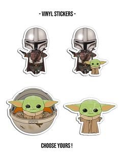 """Vinyl Sticker inspired in """"The Mandalorian"""" main characters.<br /><br />SIZE: cm / """"<br /><br />Check all the different designs! Printable Stickers, Cute Stickers, Yoda Images, Star Wars Stickers, Fun Party Themes, Star Wars Cake, Star Wars Birthday, Aesthetic Stickers, Disney Cartoons"""