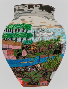 thunderstruck9: Jonas Wood (American, b. 1977), Frimkess Chilean Landscape Pot, 2015. Oil and acrylic on canvas, 118 × 90 in.