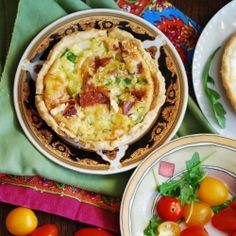 Bacon and egg tartlets with green onions and Gouda cheese.  Flaky tart crust.  Breakfast that will keep you full.