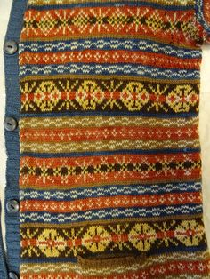 1900's vintage fairilse jumper. Natural plant dyes. From the Shetland Museum archives.