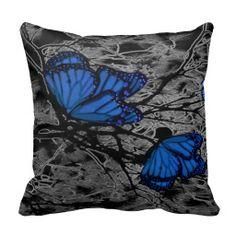 Wild Blue Butterfly Pillow by Barbara St Jean