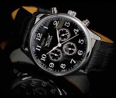 Zegarek JARAGAR czarny mechanicznie nakręcany Blyskkotki Omega Watch, Rolex Watches, Accessories