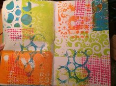 We have our first customer example of Gelli STAMPING in an art journal with the new 3x5 Gelli printing plate! Renee Robertson's journal stamping is fun and fabulous! Thanks Renee!