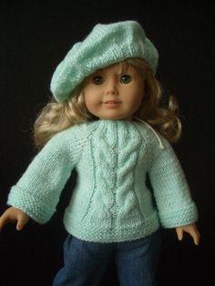 Beginner level Knitting PATTERN for American Girl 18 by KNITnPLAY, $2.99