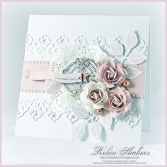 pretty lace card with roses