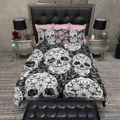 Lightweight Sugar Skull Bedding Beautiful Scroll by InkandRags http://www.skullclothing.net