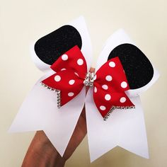 Hey, I found this really awesome Etsy listing at https://www.etsy.com/listing/220775933/beautiful-minnie-mouse-ears-cheer-bow