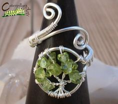 Etsy Transaction - Peridot Tree of Life Ring - Tree of Life Jewelry - Wire Wrapped Ring - Made to Order - Silver Plated Diy Jewelry Rings, Wire Jewelry, Jewelry Crafts, Handmade Jewelry, Jewelry Making, Beaded Jewelry, Tree Of Life Ring, Tree Of Life Jewelry, Tree Of Life Bracelet