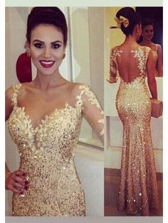 prom dress, prom dresses, backless gold long prom dress 2016