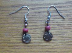 burgundy and copper dangle earrings ecofriendly by CraftyGreenPoet