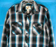 Ocean Pacific Surfer Shirt Retro Blue Black White Plaid VTG Cotton Men's Large #OceanPacific #ButtonFront