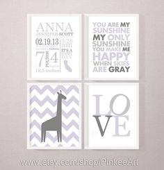 custom baby name nursery art, personalized baby prints, birth stats print, baby stats, birth annoucements, new baby gift, baby birth art set by PinkeeArt, $29.00