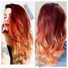 Alexsis Mae : Red Fire Balayage Ombre Hair using OLAPLEX SCHWARZKOPF - Looking for Hair Extensions to refresh your hair look instantly? KINGHAIR® only focus on premium quality remy clip in hair. Visit - - for more details Fire Ombre Hair, Fire Hair, Ginger Hair Color, Hair Color And Cut, Ombré Hair, New Hair, Coiffure Hair, Balayage Hair, Red Bayalage