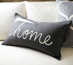 Nice touch to add coziness... - Home Sentiment Lumbar Pillow Cover #potterybarn