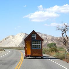 Ella Jenkins built her own tiny house. Here she is taking it on the road from So Cal to Northern Cal to find land to live on.