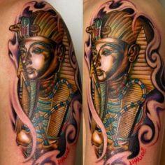 Face of ancient Osiris, tutenkamen, sarcophagus detailed ritual Tools, crook, fail, full color! Egyptian tattoo