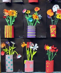DIY: Great project for teachers to do in art class, kids to do at home with parents or grandparents for Mother's day or any day! Cut paper relief sculptures in tin can planters. by carlani Spring Art Projects, School Art Projects, Spring Crafts, Projects For Kids, Kids Crafts, Arts And Crafts, Classe D'art, 3rd Grade Art, Kindergarten Art