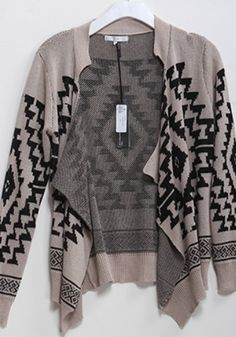 Mocha Ethnic Print Sweater - Catch Bliss Boutique $54