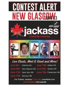 ICYMI NEW GLASGOW ... CONTEST ALERT . Who wants to go to the Jackass Canada stand up comedy tour?!! Im giving away a pair of tickets for EVERY STOP OF THE TOUR!!! This one is a little different than usual so comment under the photo of the tour stop you want tickets for. ( This is also happening on @noiseNB if you have friends in New Brunswick or a reallllly into jackass)  the show is @iamwean @daveenglandshoot @chrispontius @dangerehren etc . Here's how the contest works: . 1. Follow…