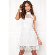 WD-31 Dress Cream ❤ liked on Polyvore featuring dresses, white halter neck dress, white dress, halter-neck tops, creme dresses and white halter top dress